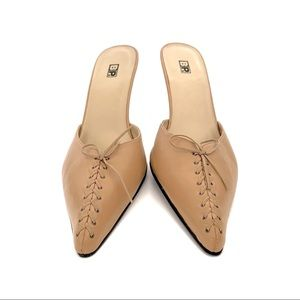 BP. | Leather Lace Up Tan Pointed Mules